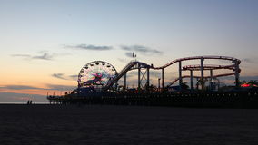 4K UltraHD A timelapse view of the Santa Monica pier at night stock video footage