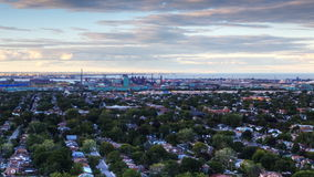 4K UltraHD A timelapse view at twilight looking down on an urban area stock footage