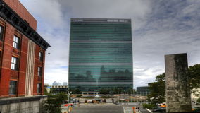 4K UltraHD A timelapse view of the United Nations Building in New York. A timelapse view of the United Nations Building in New York stock footage