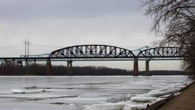 4K UltraHD Traffic on bridges over the Hudson River, New York stock video footage