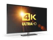 4K UltraHD TV. Creative abstract ultra high definition digital television screen technology concept: 4K UltraHD TV or computer monitor display isolated on white Royalty Free Stock Photo