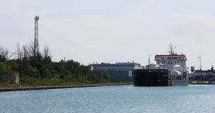 4K UltraHD View of freighter moves through the Welland Canal, Canada stock video