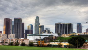 4K UltraHD View of Los Angeles skyline with soccer field in the foreground stock video footage