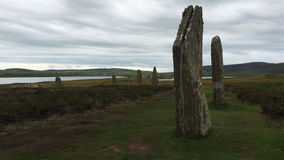4K UltraHD View of the neolithic Ring of Brodgar in Orkney, Scotland stock video footage