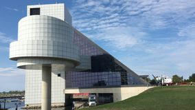 4K UltraHD View of the Rock and Roll Hall of Fame and Museum, Cleveland stock video footage