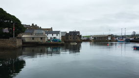 4K UltraHD View of Stromness harbor in Orkney, Scotland stock footage