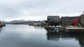 4K UltraHD View of Stromness harbor, Orkney, Scotland stock video