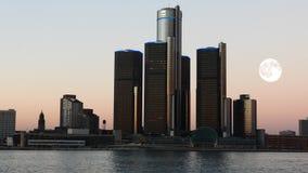 4K UltraHD-Volle maan over Detroit, Michigan stock videobeelden