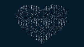4k una placa de circuito futurista con los electrones móviles formó el corazón, conexiones electrónicas, comunicación, tecnología ilustración del vector