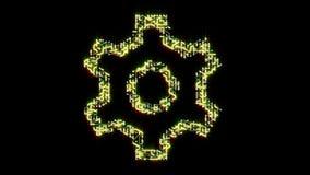 4k una placa de circuito futurista con los electrones móviles formó el símbolo del engranaje, conexiones electrónicas ilustración del vector