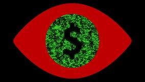 4k una placa de circuito futurista con los electrones móviles formó la muestra de dólar, ojo humano del extracto, conexiones elec libre illustration