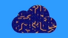 4k una placa de circuito futurista con los electrones móviles formó la nube del ordenador ilustración del vector