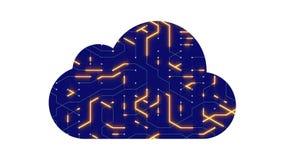 4k una placa de circuito futurista con los electrones móviles formó la nube del ordenador libre illustration