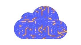 4k una placa de circuito futurista con los electrones móviles formó la nube del ordenador stock de ilustración