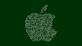 4k una placa de circuito futurista con los electrones móviles formó marca registrada de la manzana inc. stock de ilustración