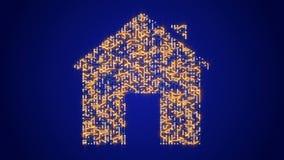 4k una placa de circuito futurista con los electrones móviles formó símbolo de la casa stock de ilustración