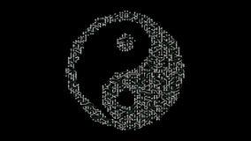 4k una placa de circuito futurista con los electrones móviles formados orientan símbolo del taiji stock de ilustración