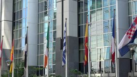 4K Unia Europejska krajów flagi machają parlament europejski