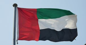 4k United Arab Emirates flag is fluttering in wind. stock video