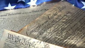 4k United States bill of rights preamble to the constitution and american flag stock video footage