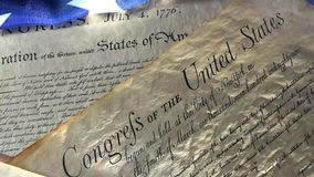 4k United States Bill of Rights Preamble to the Constitution and American Flag stock footage