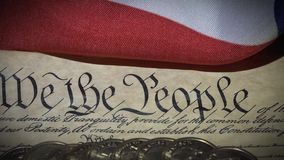 4k United States Bill of Rights Preamble to the Constitution and American Flag stock video
