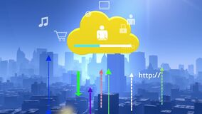 4k,Update the informative to cloud,download data to modern urban,internet icons. 4k,Update the informative to cloud,download data to modern urban building stock video footage