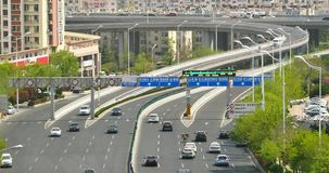 4k urban busy traffic jams on the overpass,QingDao,china.air pollution. 4k urban city busy traffic jams on the overpass,QingDao,china.highway street & business stock video