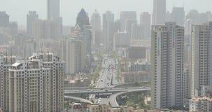 4k urban city busy traffic jams,QingDao,china.business building,air pollution.