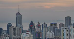 4k urban city in dusk,busy traffic jams & business building,QingDao,china. Gh2_11440_4k stock video