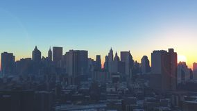 4k Urban sunrise,New York,modern business building silhouette. Cg_03228_4k stock video