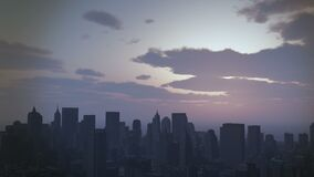 4k Urban sunset,cloud flying over New York,modern business building silhouette. stock video