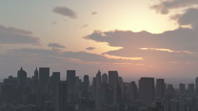 4k Urban sunset,cloud flying over New York,modern business building silhouette. stock video footage