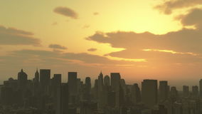 4k Urban sunset,cloud flying over New York,modern business building silhouette. Cg_03353_4k stock video footage