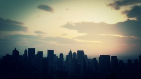 4k Urban sunset,cloud flying over New York,modern business building silhouette. 4k Urban sunset,cloud flying over New York,modern business building silhouette stock video footage