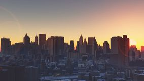 4k Urban sunset,New York,modern business building silhouette. Cg_03230_4k stock footage
