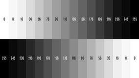 8K 7680x4320-van de de gradiënttelevisie van TV Zwart-wit de testpatroon om het scherm, tint 0-255 aan te passen royalty-vrije illustratie