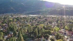 4K van de Heuvelslos angeles Californië van Burbank Pasadena Glendale Hollywood de Antenne van La stock video