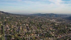 4K van de Heuvelslos angeles Californië van Burbank Pasadena Glendale Hollywood de Antenne van La stock footage
