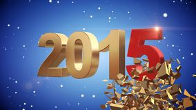 4K VID - Here Comes The New Year 2015 - Blue Background - ray-traced Royalty Free Stock Image