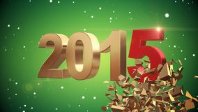 4K VID - Here Comes The New Year 2015 - Green Background - ray-traced Royalty Free Stock Photo