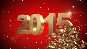 4K VID - Here Comes The New Year 2015 - Red Background - ray-traced Royalty Free Stock Images