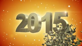 4K VID - Here Comes The New Year 2015 - Yellow Background - ray-traced Royalty Free Stock Photography