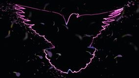 4K video animation of beautiful outline of pigeon bird whose wings are open, with neon lighting, disintegration effect.