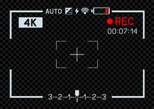 4K video camera viewfinder dark. 4K resolution video camera rec viewfinder aperture hole on transparent dark background. Record frame template snapshot stock illustration