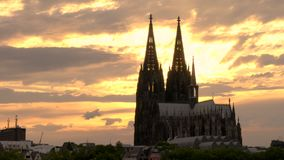 Cologne Cathedral at sunset, Cologne or Koln, Germany. 4K video clip of Cologne Cathedral at sunset, Cologne or Koln, Germany, Europe stock video footage