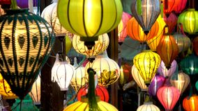 Traditional Vietnamese colorful lanterns at night on the streets of Hoi An, Vietnam stock footage