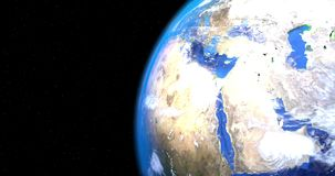 A 4K video of the earth rotating 180 degrees. 4K video of the earth rotating 180 degrees vector illustration