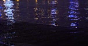 4k video,Night Ocean waves.  stock video