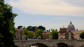 Vatican City Building 4k video Rome, Italy. 4K video of Vatican City Building and bridge from across Tevere River in the historic city of Rome, Italy on 28 June stock footage